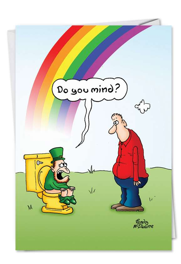 Rainbow Toilet: Humorous St. Patrick's Day Printed Greeting Card