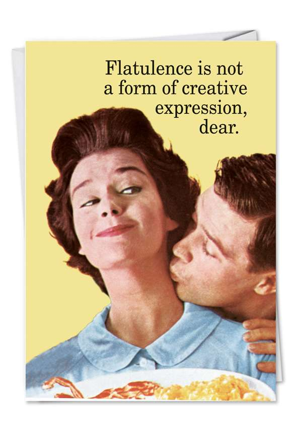 Flatulence and Creative Expression: Hilarious Birthday Printed Greeting Card