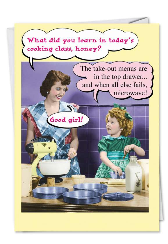 Funny Birthday Mother Greeting Card from NobleWorksCards.com - Microwave and Takeout Menus
