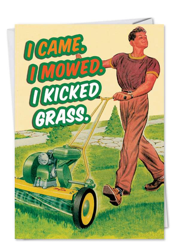 Retro Lawn Mower: Funny Birthday Father Paper Card
