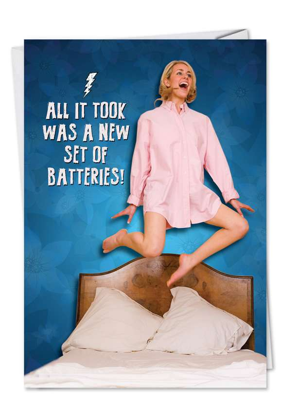 New Batteries: Funny Birthday Paper Greeting Card