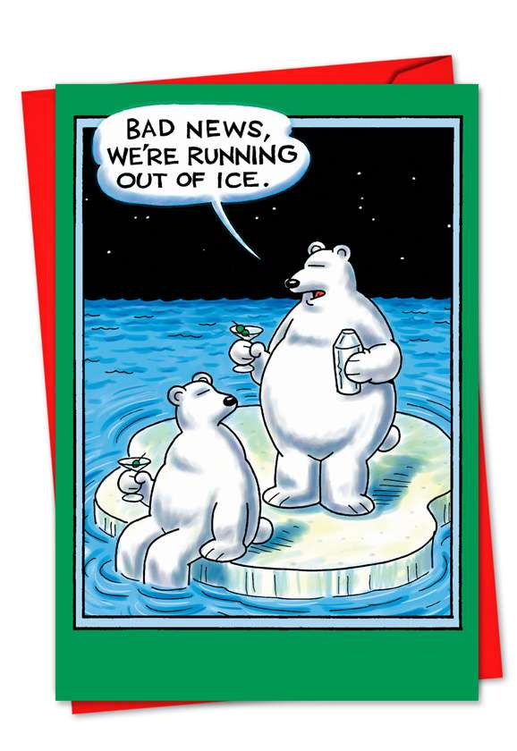Out of Ice: Hilarious Blank Paper Greeting Card