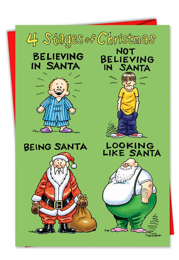 Four Stages Of Life As Santa Christmas Card - Nobleworkscards.Com