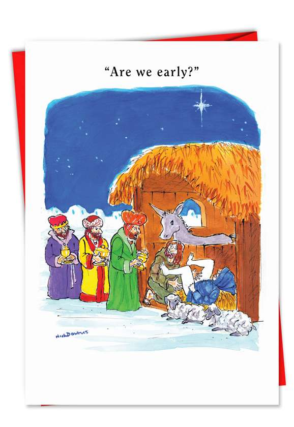 Wise Men Early: Humorous Christmas Printed Greeting Card