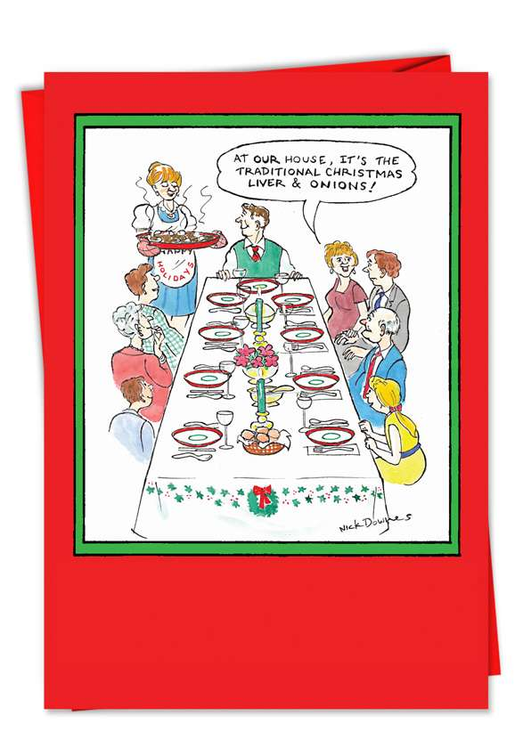 Liver and Onion: Humorous Christmas Paper Greeting Card
