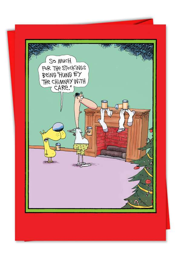 Chimney With Care: Funny Christmas Printed Card