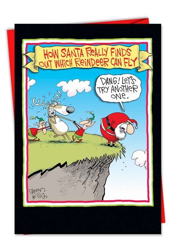 Reindeer Can Fly: Funny Christmas Paper Card