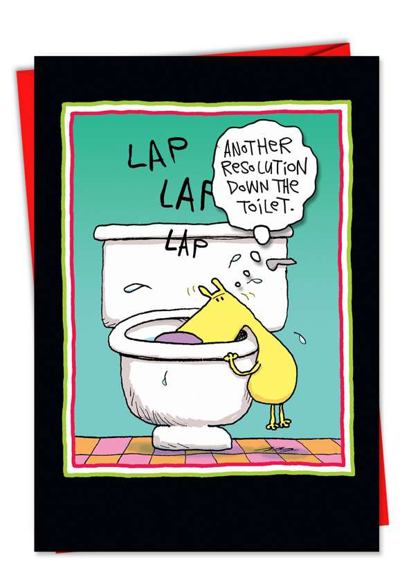 Resolution Down The Toilet: Humorous New Year Printed Card