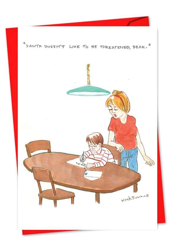 Santa Be Threatened: Funny Christmas Printed Greeting Card