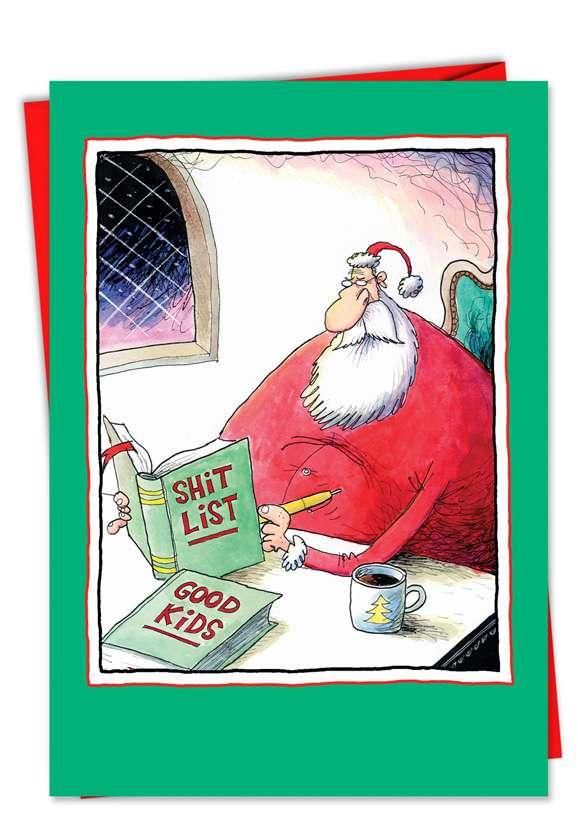 Shit List: Humorous Christmas Printed Greeting Card