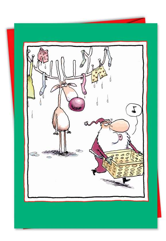 Laundry Antlers: Hysterical Christmas Paper Card