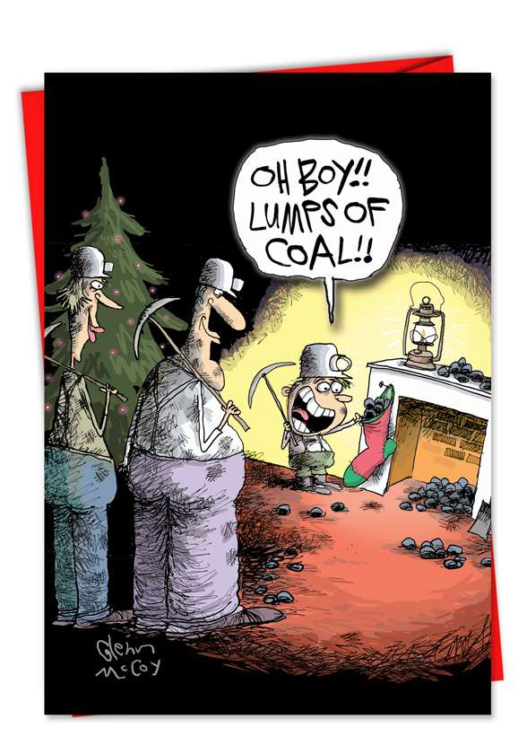 Miners and Coal: Funny Christmas Printed Greeting Card