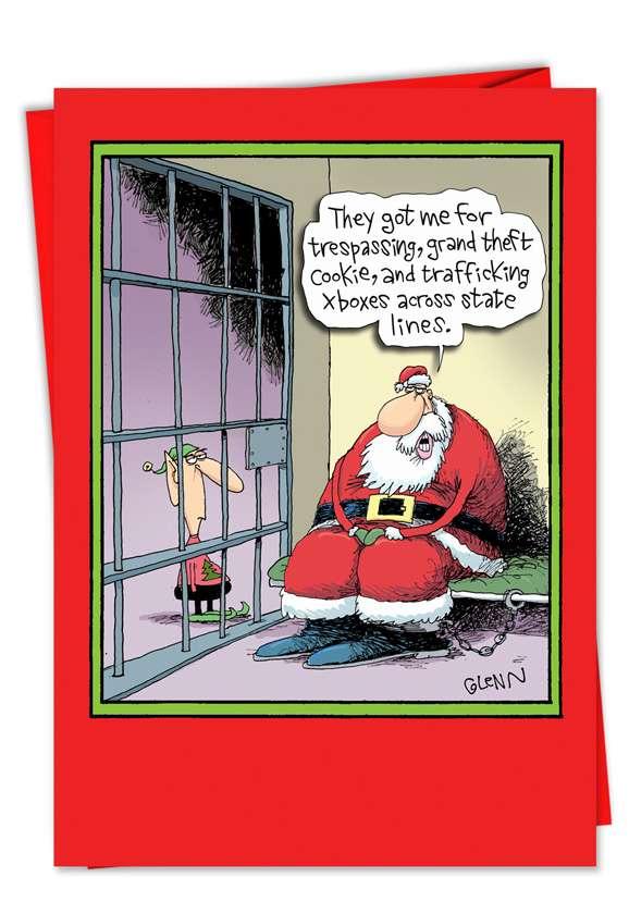Santa in Jail: Humorous Christmas Greeting Card