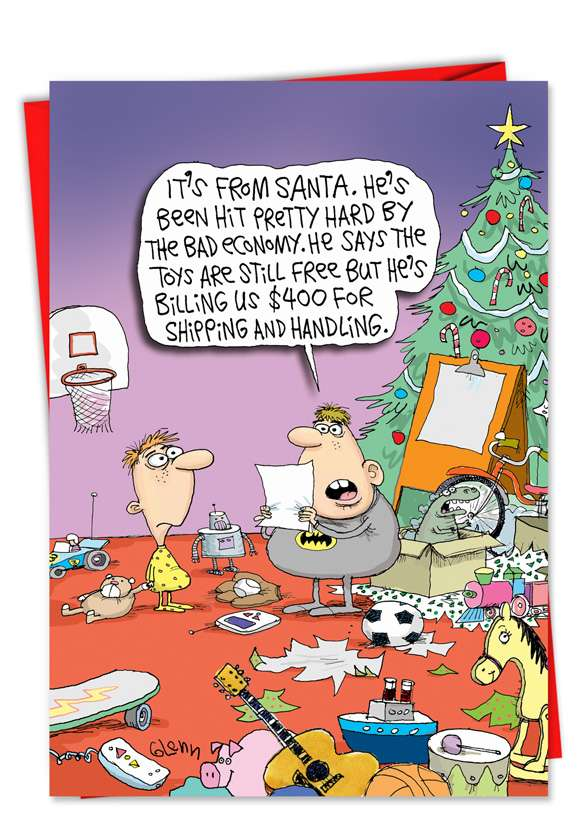Santa Shipping Costs: Hysterical Christmas Printed Card