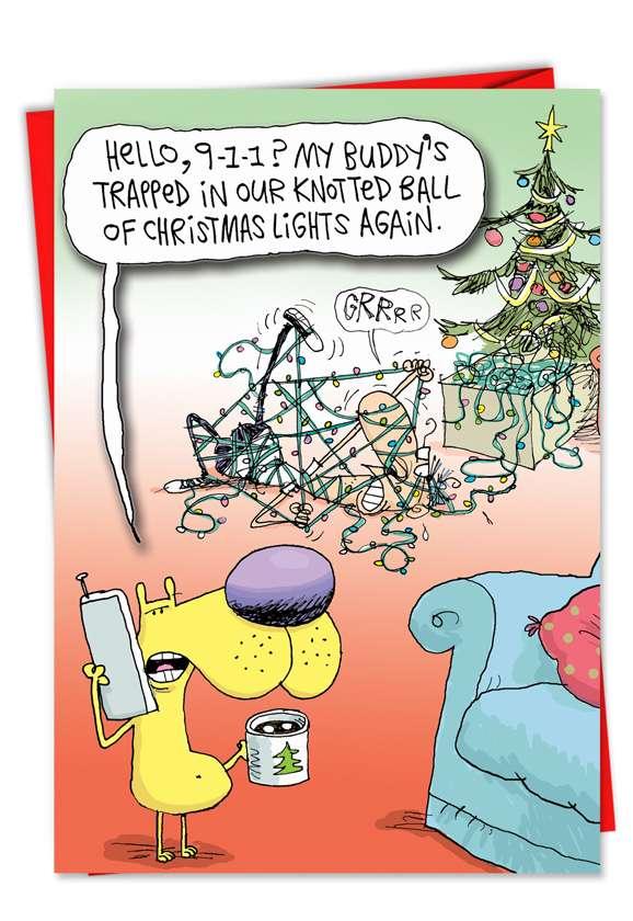 Tangled Lights: Humorous Christmas Paper Card