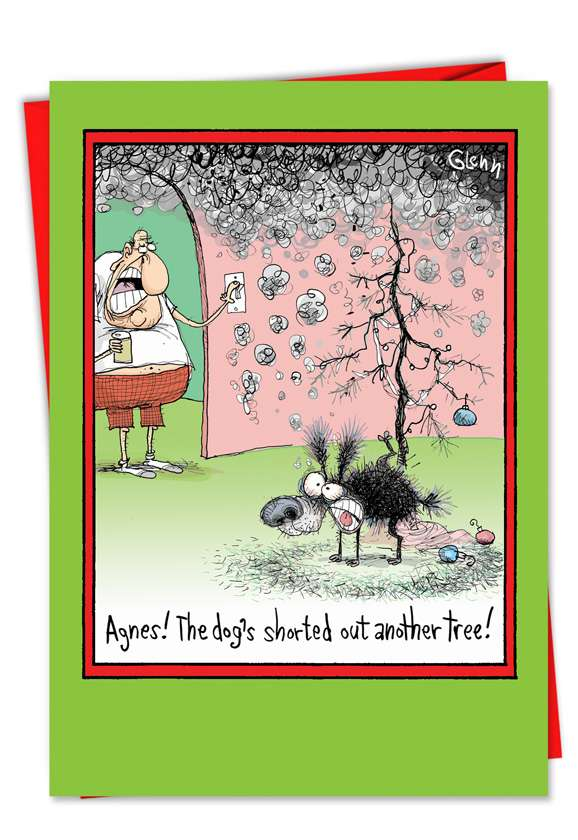 Dog Peed Tree: Hilarious Christmas Paper Greeting Card