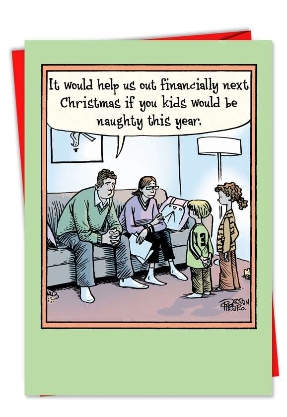 Help Financially: Humorous Christmas Printed Card
