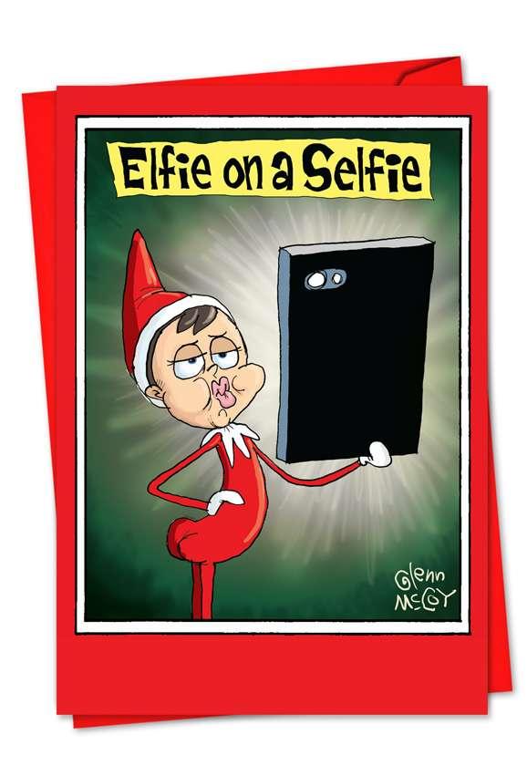 Elfie on a Selfie: Hilarious Blank Paper Greeting Card