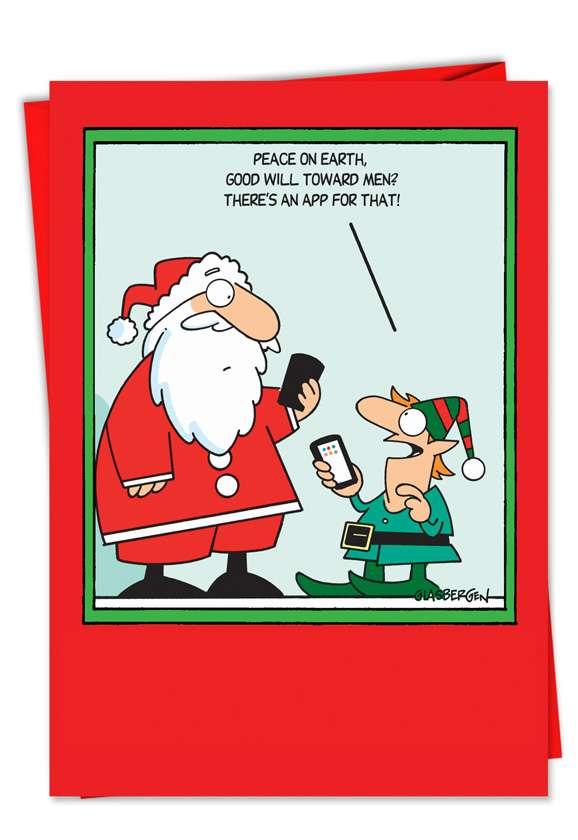App for That: Humorous Christmas Paper Greeting Card