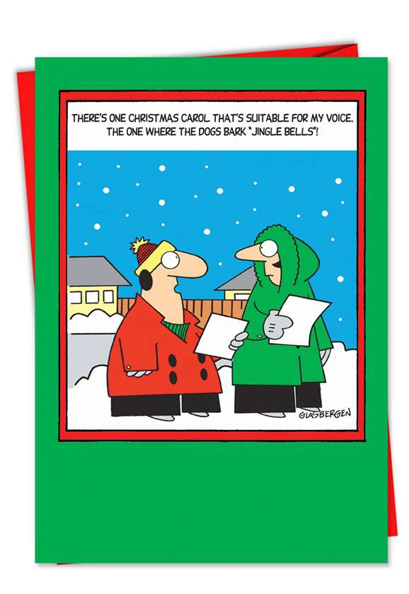Dogs Bark Jingle Bells: Hysterical Christmas Printed Greeting Card