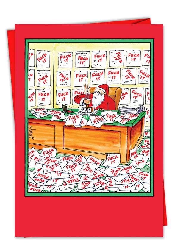 Fuck It Santa: Hilarious Christmas Printed Greeting Card