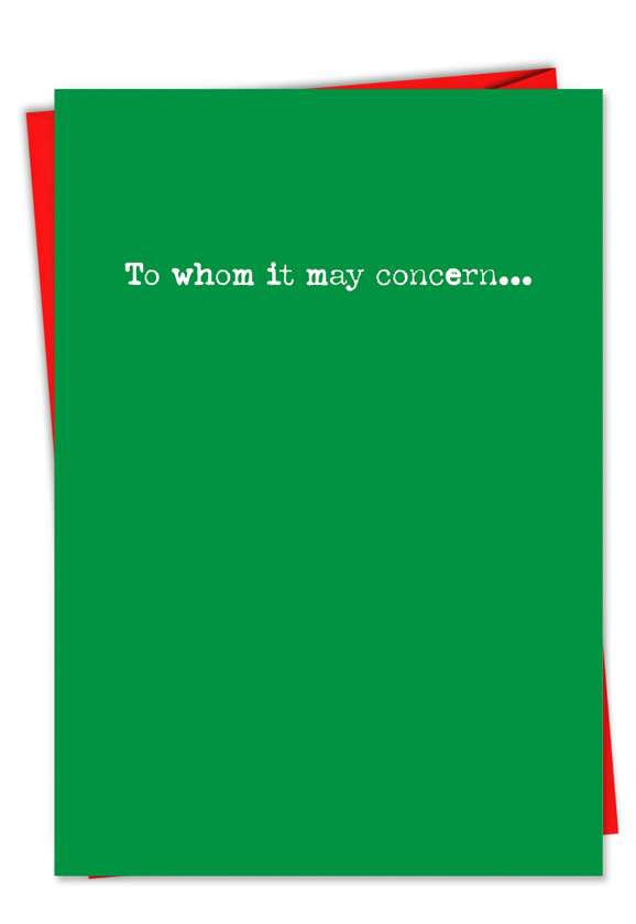 To Whom: Hysterical Christmas Paper Card