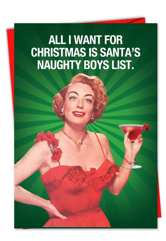 Naughty Boy List: Hysterical Christmas Paper Greeting Card