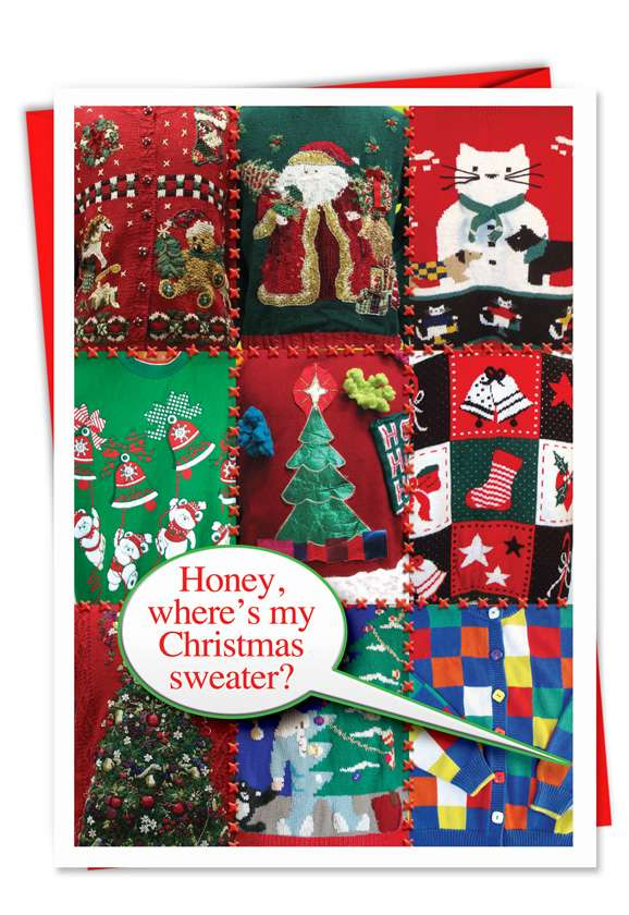 Ugly Christmas Sweaters: Hysterical Christmas Printed Card