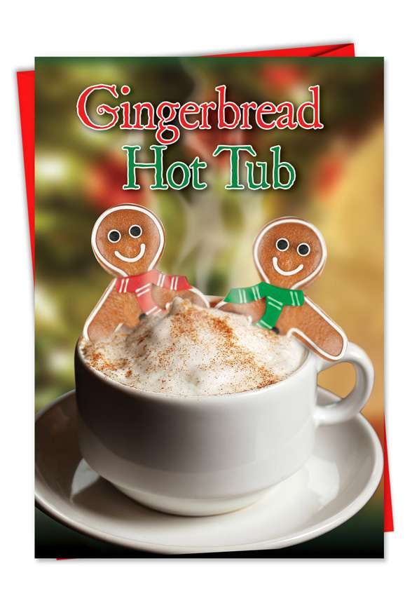 Gingerbread Jacuzzi: Hilarious Christmas Paper Greeting Card