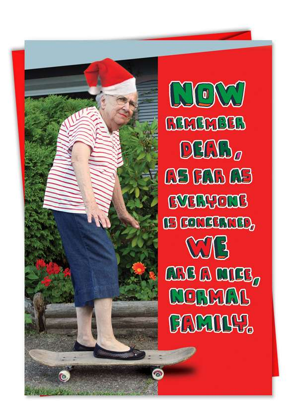 Normal Family: Hilarious Christmas Paper Greeting Card