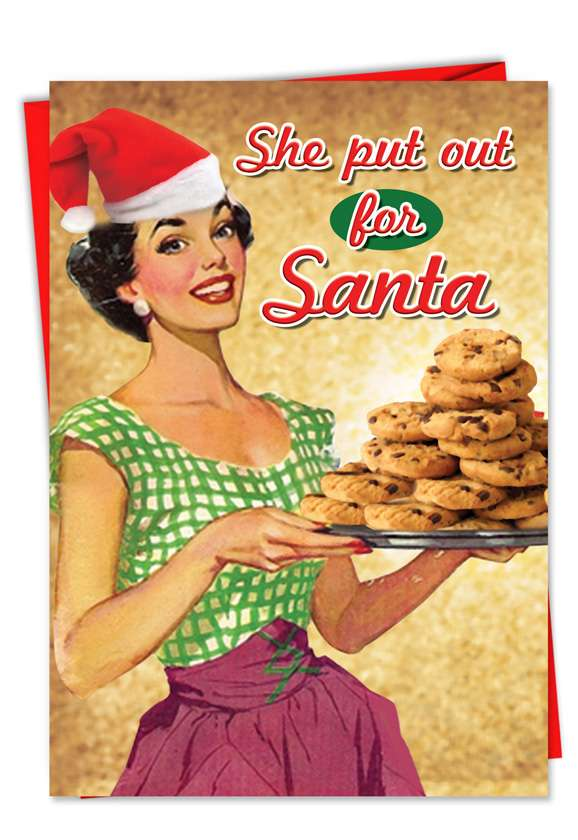 She Put Out for Santa: Humorous Christmas Paper Greeting Card