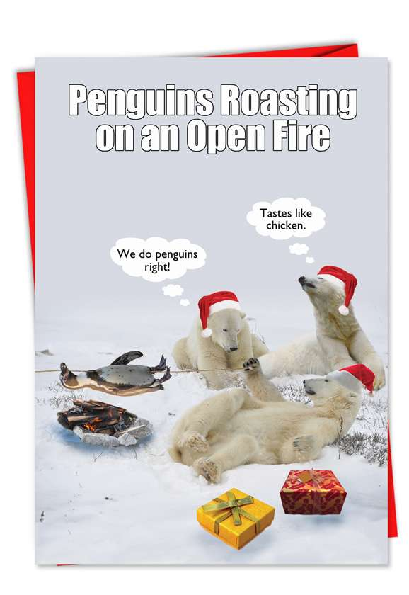Penguin Roasting Open Fire: Humorous Christmas Paper Greeting Card