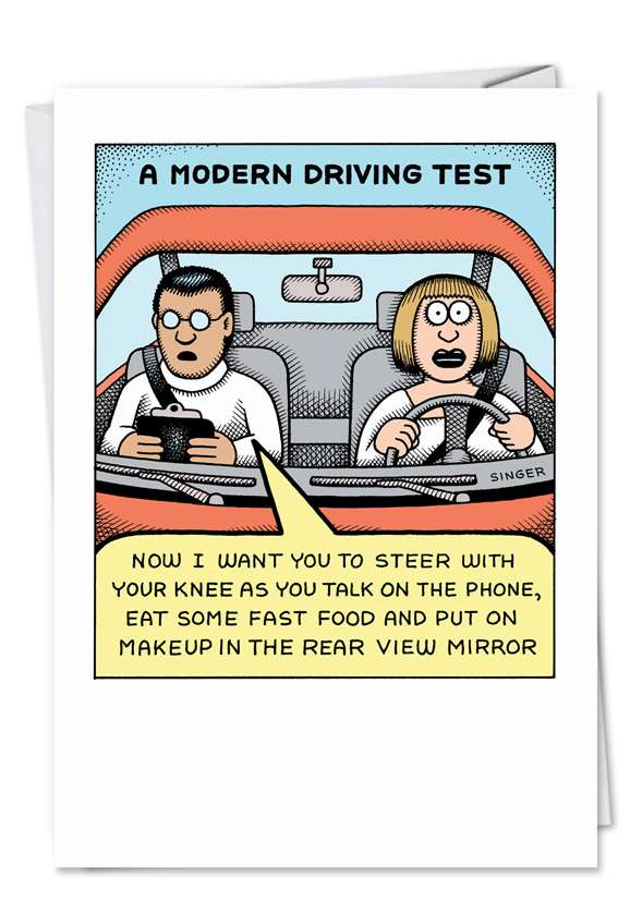 Modern Driving Test: Hilarious Blank Greeting Card