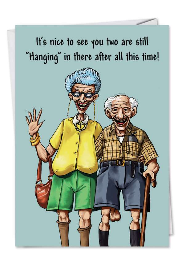Hanging in There: Humorous Anniversary Paper Greeting Card