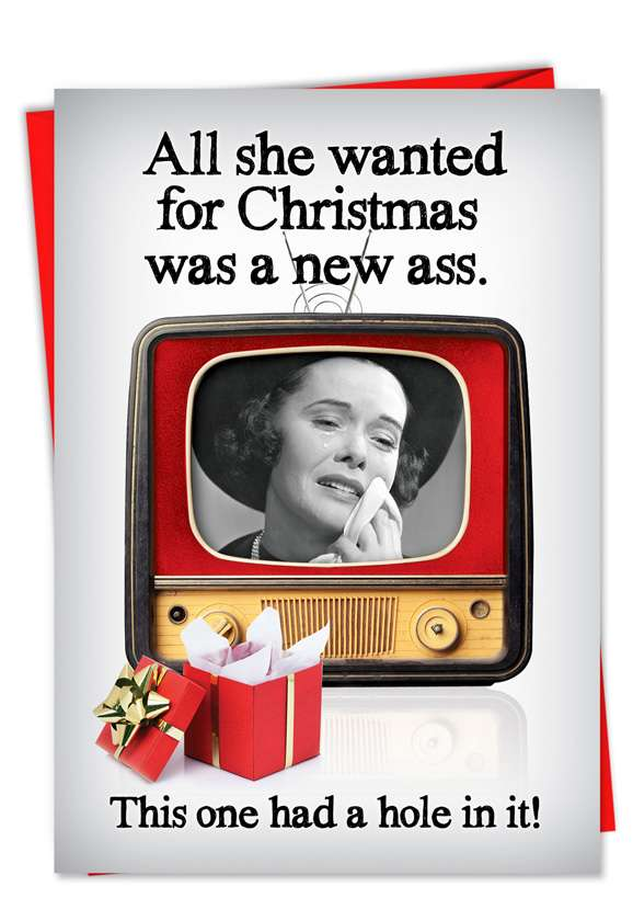 New Ass: Hysterical Christmas Printed Greeting Card