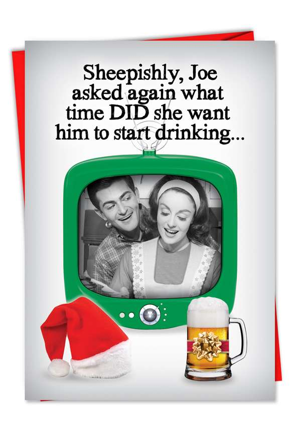 Start Drinking: Humorous Christmas Printed Card