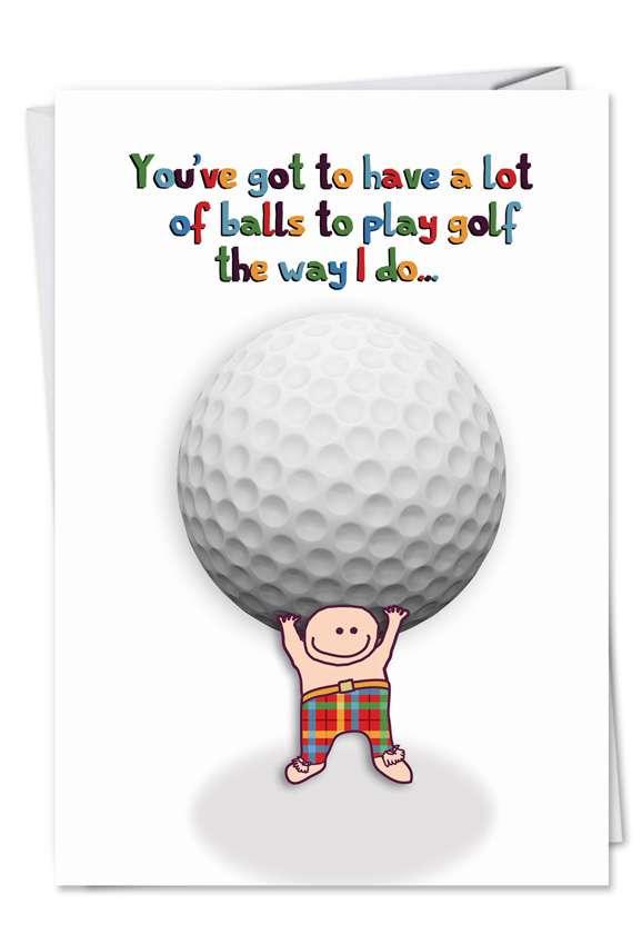 Golf Balls: Funny Birthday Paper Card