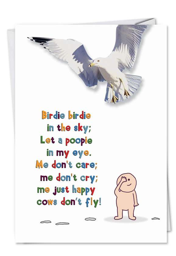 Cow Fly: Funny Birthday Printed Greeting Card