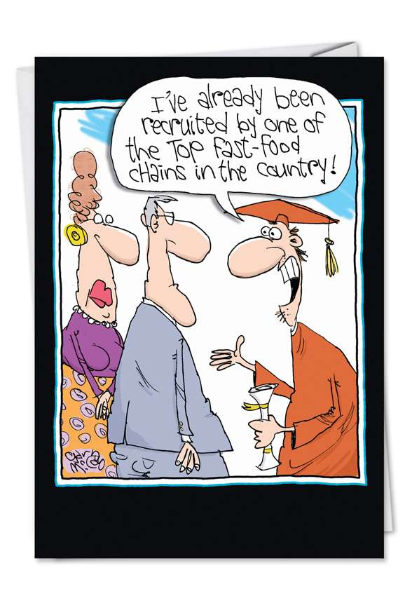 Hysterical Graduation Greeting Card by Gary McCoy from NobleWorksCards.com - Fast Food Chain