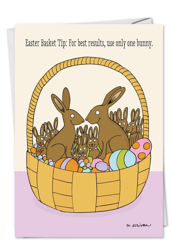 Bunny Basket: Humorous Easter Paper Card