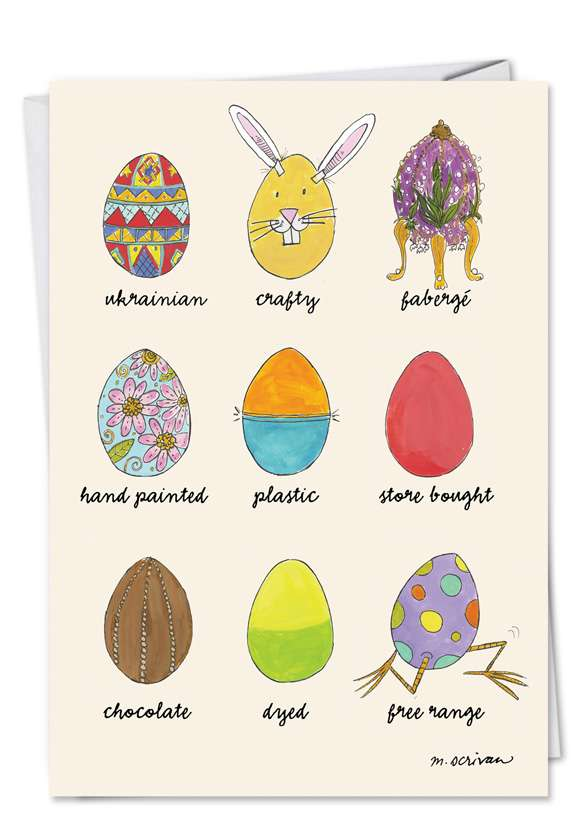 Egg Types: Funny Easter Printed Card