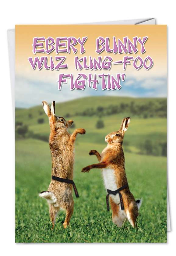 Kung Foo Fighting: Funny Easter Printed Greeting Card
