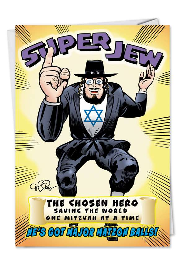 Super Jew: Funny Birthday Printed Greeting Card
