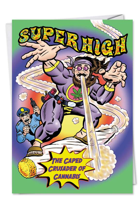 Super High: Funny Birthday Paper Greeting Card