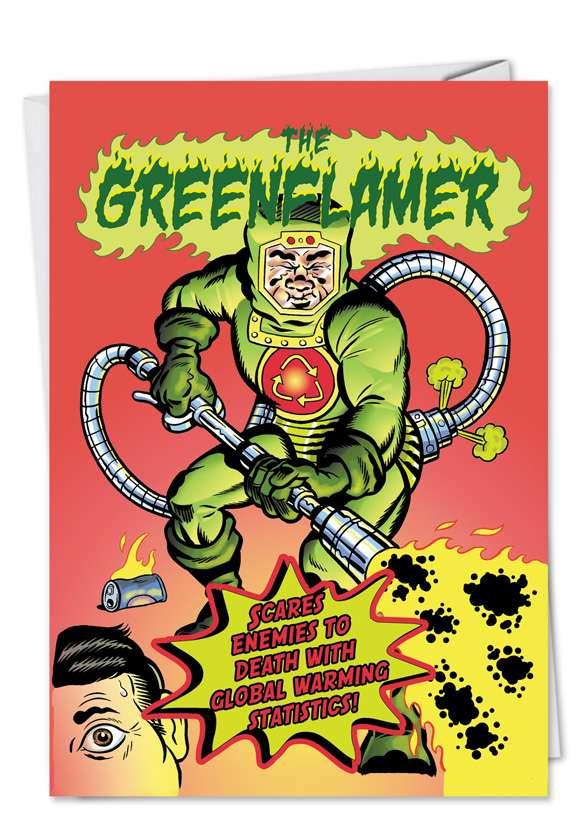 Green Flamer: Hilarious Birthday Printed Greeting Card