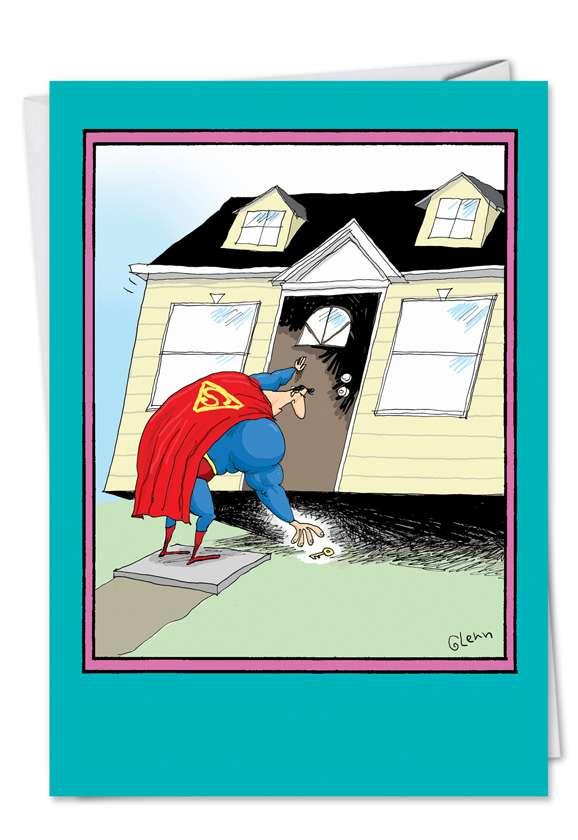 Superman House Keys: Hilarious Birthday Printed Card