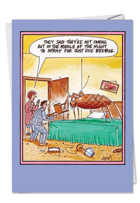Just One Bedbug: Hilarious Birthday Printed Greeting Card