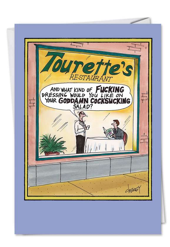 Tourettes Restaurant: Humorous Birthday Paper Greeting Card