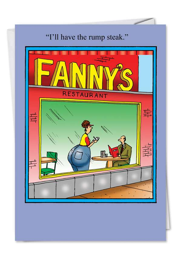 Fanny Rump Steak: Humorous Birthday Greeting Card