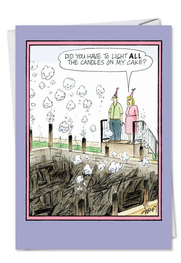 Light Candles: Hilarious Birthday Paper Greeting Card